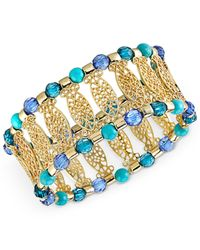 2028 | Metallic Gold-Tone Filigree Beaded Stretch Bracelet | Lyst
