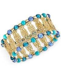 2028 - Metallic Gold-Tone Filigree Beaded Stretch Bracelet - Lyst