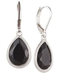 Nine West | Metallic Silver-tone Faceted Stone Teardrop Earrings | Lyst