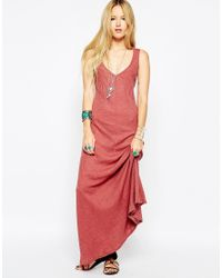 ASOS | Purple Rib Maxi Dress With Crochet Back | Lyst