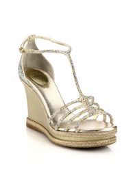 Rene Caovilla | Crystal & Metallic Leather Strappy Espadrille Sandals | Lyst