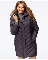 Kenneth Cole - Black Plus Size Faux-fur-hood Puffer Down Coat - Lyst