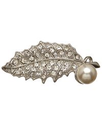 John Lewis | Metallic Plated Faux Pearl Leaf Brooch | Lyst