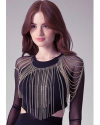 Bebe - Metallic Crystal Fringe Body Chain - Lyst