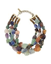 Etro - Brown Tigers Eye Sodalite and Amethyst Necklace - Lyst