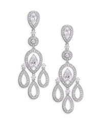 Adriana Orsini | Metallic Pave Pear Chandelier Earrings/silvertone | Lyst