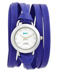 La Mer Collections - Blue 'saturn' Leather Wrap Watch - Lyst
