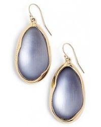 Alexis Bittar | Metallic 'lucite - Liquid Metal' Oval Drop Earrings - Light Navy | Lyst