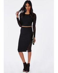 Missguided - Mesh Panel Midi Skirt Black - Lyst