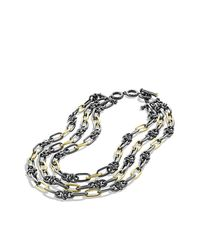 David Yurman - Metallic Black & Gold Five-row Link Necklace With Gold - Lyst