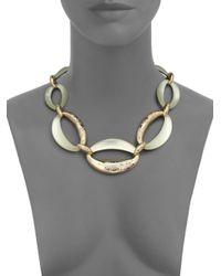 Alexis Bittar - Metallic Vert D'Eau Lucite & Crystal Chain-Link Necklace - Lyst
