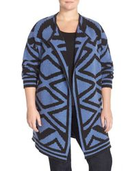 NIC+ZOE | Blue 'mirrored Angles' Open Front Knit Jacket | Lyst