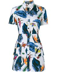 House of Holland - Blue Printed Shirt Dress - Lyst