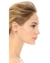 Jacquie Aiche - Metallic Bar Stud And Starburst Ear Jacket - Gold/Black - Lyst