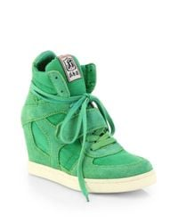 Ash - Green Bowie Suede & Canvas Wedge Sneakers - Lyst