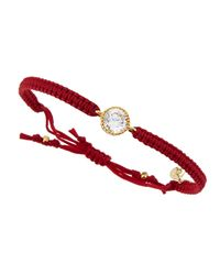 Tai - 24k Goldplated Crystal Cord Bracelet Red - Lyst