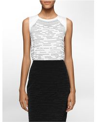 Calvin Klein | White Label Black Stud Sleeveless Top | Lyst