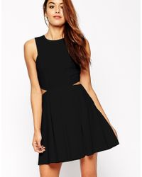 ASOS | Black Skater Dress In Texture With Cut Out Side | Lyst
