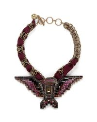 Lanvin - Red Crystal Embellished Eagle Necklace - Lyst