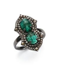 Bavna | Green Diamond, Emerald & Sterling Silver Ring | Lyst