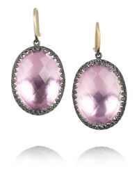 Larkspur & Hawk - Pink Lilly Large Oxidized Sterling Silver Topaz Earrings - Lyst