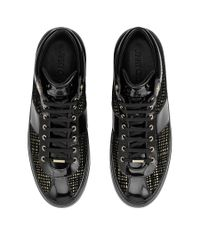 Jimmy Choo - Belgravia Black And Gold Net Flocked Glitter High Top Trainers for Men - Lyst