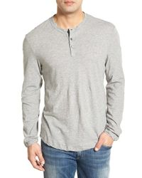 James Perse | Gray 'clear Jersey' Long Sleeve Henley for Men | Lyst