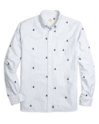Brooks Brothers - White Mallard Duck Embroidered Stripe Sport Shirt for Men - Lyst