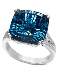 Macy's | Metallic Sterling Silver Ring, Blue Topaz (12 Ct. T.w.) And Diamond Accent Cushion Cut Ring | Lyst