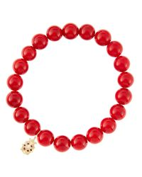 Sydney Evan - 8Mm Red Coral Beaded Bracelet With 14K Gold/Diamond Medium Ladybug Charm (Made To Order) - Lyst