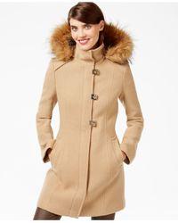 Calvin Klein | Natural Faux-fur-trim Turn-lock Walker Coat | Lyst