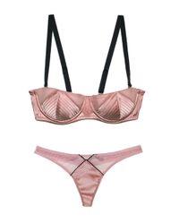 Fleur du Mal | Pink Satin Top Stitch Thong | Lyst