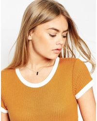 ASOS - Metallic Contrast Bar Short Pendant Necklace - Lyst