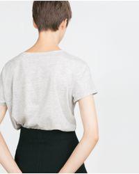 Zara | Gray Jewel Text T-shirt | Lyst