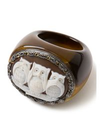 Amedeo - Brown Three Owl Citrine Ring - Lyst