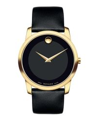 Movado - Metallic 'museum' Leather Strap Watch for Men - Lyst