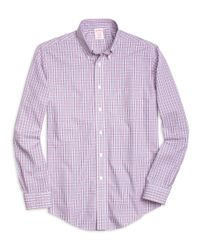Brooks Brothers | Purple Non-iron Brookscool® Madison Fit Small Plaid Sport Shirt for Men | Lyst