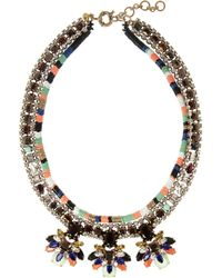 J.Crew - Green Honeybee Gold Plated Crystal and Cubic Zirconia Necklace - Lyst