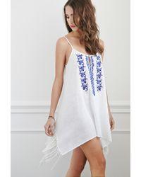 Forever 21 | White Tasseled Cami Peasant Dress | Lyst
