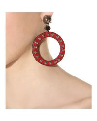 Miu Miu - Red Studded Leather Hoop Clip-On Earrings - Lyst