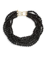 Kenneth Jay Lane - Black Six-row Necklace - Lyst