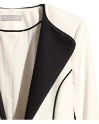 H&M - White Jersey Jacket - Lyst