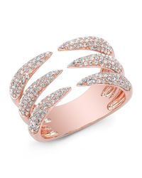 Anne Sisteron | Metallic 14kt Rose Gold Diamond Triple Horn Ring | Lyst