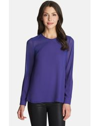 1.STATE - Blue Long Sleeve Sheer Panel Blouse - Lyst