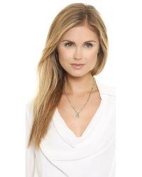 Ela Rae - Green The Phoebe Diamond Horsehoe Necklace - Gold/Emerald - Lyst