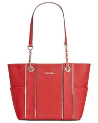 Calvin Klein | Red Contrast Trim Saffiano Tote | Lyst