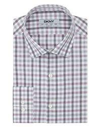 DKNY | Purple Check Grid Dress Shirt for Men | Lyst