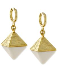 Vince Camuto | White Gold-tone And Stone Pyramid Earrings | Lyst