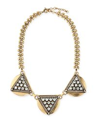 Panacea | Metallic Crystal Triangle Collar Necklace | Lyst