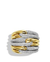 David Yurman | Metallic Labyrinth Triple-loop Ring With Diamonds | Lyst